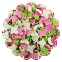 Pink and White Butterflies with Green Flowers 100g