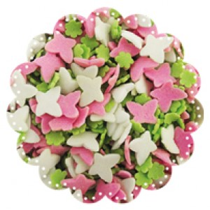 Pink and White Butterflies with Green Flowers 500g